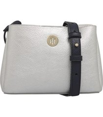 cartera th metallic gris tommy hilfiger