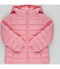 jaqueta infantil puffer com capuz e bolsos rosa