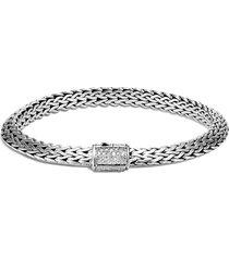 'classic chain tiga' diamond silver small bracelet