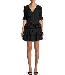 allison new york women's embroidered tiered cotton dress - black - size m