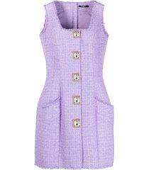 balmain button-embellished tweed dress - purple