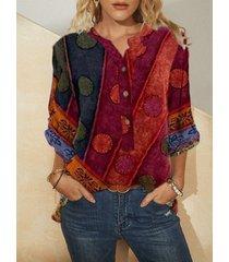 tribal modello camicetta con colletto rialzato a maniche lunghe con bottoni a pois