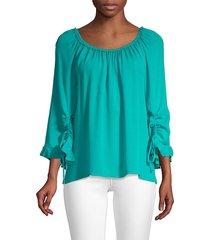 kobi halperin women's kena silk blouse - aqua - size xs