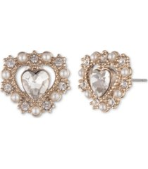 marchesa gold-tone imitation pearl heart button earrings