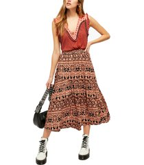 women's free people all about the tiers a-line skirt, size x-large - grey