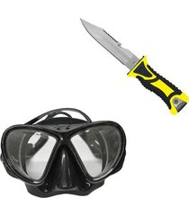 máscara de mergulho black lentes duplas nautika + faca balleno lâmina serrilhada
