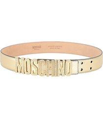 embellished logo metallic leather belt