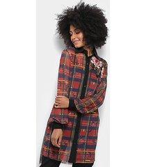 blusa alongada carmim diana xadrez botões feminina