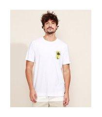 camiseta masculina flamê praia maga curta gola careca branca