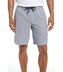 nordstrom men's shop stretch linen & cotton blend shorts, size x-large in blue twilight - white at nordstrom