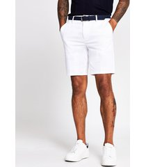 river island mens white dylan slim fit belted shorts
