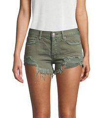 loving good vibration frayed denim shorts