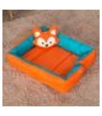 ninho de berço raposinha laranja 100% algodão dupla face com almofada decorativa