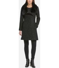 dkny asymmetrical-zip faux-fur-collar coat