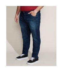 calça jeans masculina plus size slim azul escuro
