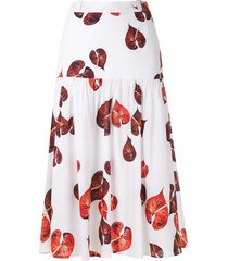 andrea marques ruched midi skirt - white