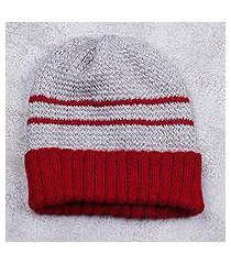 men's alpaca blend hat, 'winter's embrace in red' (peru)
