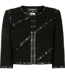 chanel pre-owned 2003 studded cropped jacket - black