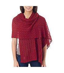 alpaca blend shawl, 'muse in scarlet' (peru)