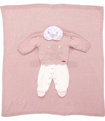 saída de maternidade fofinho macacáo e manta tricô rosa - tricae