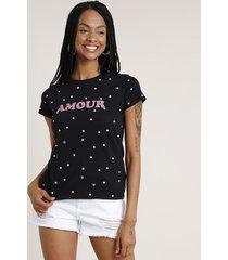 "blusa feminina ""amour"" estampada de poá manga curta decote redondo preta"