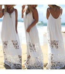 women lace beach boho maxi sundress sleeveless long dress party holiday straples