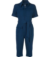 victoria victoria beckham multi-pocket belted jumpsuit - blue
