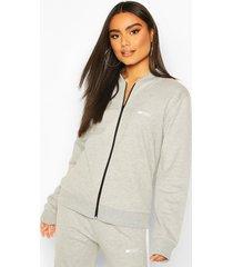 boohoo woman zip through jacket, grey marl