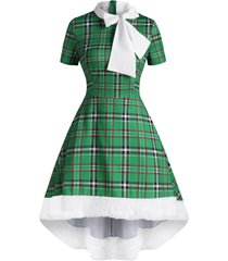 christmas faux fur insert plaid pussybow high low dress
