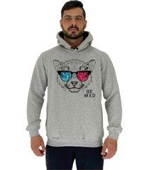 blusa moletom masculino alto conceito cheetah with glasses mescla - cinza - masculino - dafiti