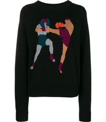 barrie chessboxing cashmere round neck pullover - black
