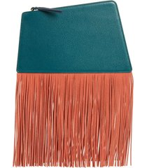 the volon dia fringe leather clutch -