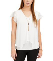 bcx juniors' split-front flutter necklace top