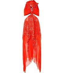 dion lee bandana knot dress - orange