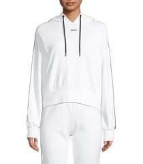 dkny women's cropped hoodie - white - size xl