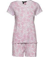 lrl sh. sleeve lace nk boxer pj set pyjama roze lauren ralph lauren homewear
