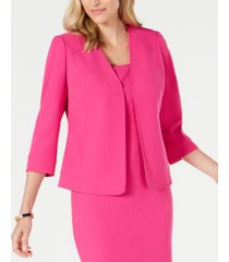 kasper petite v-neck open crepe jacket