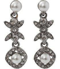 lattice pearl drop earrings