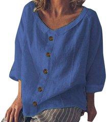 blusa suelta de algodón botón de lino de algodón sólido o-cuello-azul