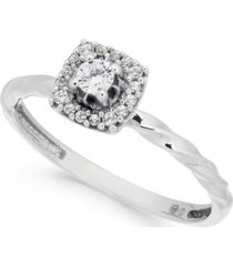 diamond halo promise ring (1/6 ct. t.w.) in 10k white gold