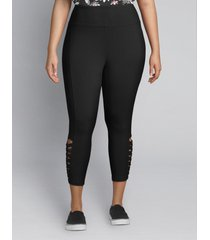 lane bryant women's livi capri power legging - macrame hem 26/28 black