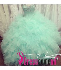 cheap ball gown sweetheart tulle mint graduation/prom dress,quinceanera dresses