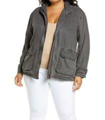 plus size women's treasure & bond utility jacket, size 2x - grey