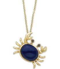 "effy lapis lazuli & diamond accent crab 18"" pendant necklace in 14k gold"