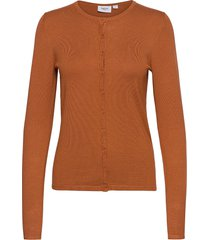 a8661, l/s cardigan r-neck stickad tröja cardigan brun saint tropez