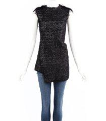 celine black white stretch knit frayed sleeveless top black/white sz: s