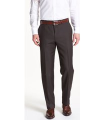 men's canali flat front solid wool trousers, size 32 us/ 48 eu x - brown