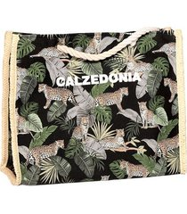 calzedonia multicolored striped beach bag woman black size tu