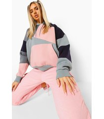 oversized colour block hoodie met patches, navy