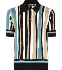 dolce & gabbana vertical-stripe short-sleeve polo shirt - brown